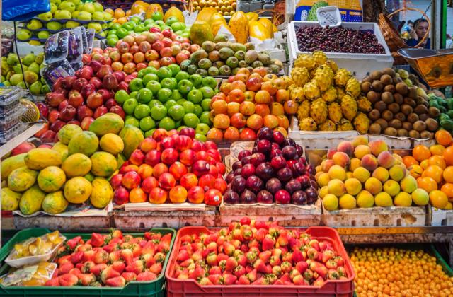 Fruits in an indoor market in Los Mártires, Bogotá, Colombia