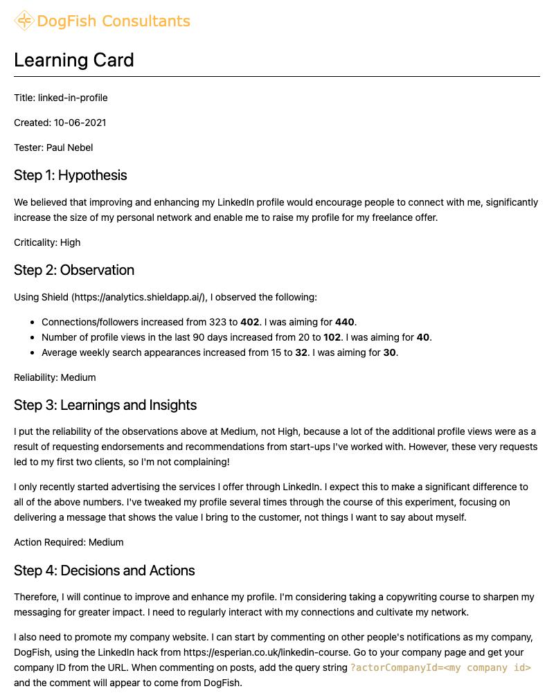 LinkedIn Profile Update Learning Card