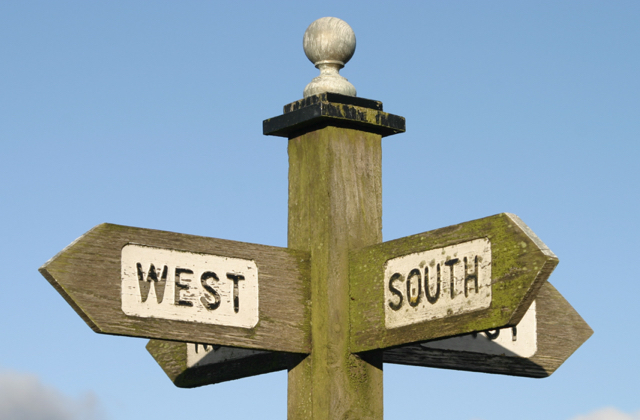 Sign pointing north, south, east and west